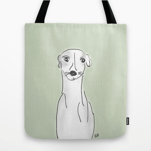 "Daisy, the Greyhound Tote Bag:  Daisy is a gentle and loyal dog. She wants nothing more than to be your companion—rain or shine.   Original artwork by me, Chris Olson.     Available in three sizes 16""x16"" shown here and, 13""x13"" and  18""x18""."