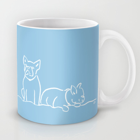 City Dogs {Frenchies} Mug:  Two French Bulldogs on a mug.