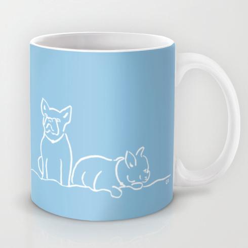 City Dogs {Frenchies} Mug:Two French Bulldogs on a mug.