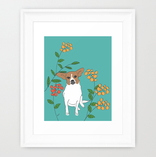 Brown and White Dog framed art print.