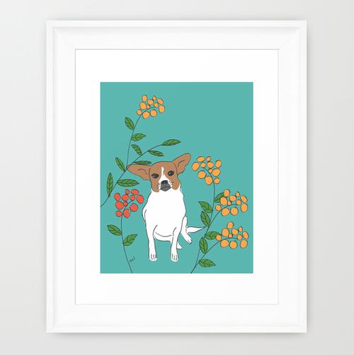 Brown and White Dog framed art print.