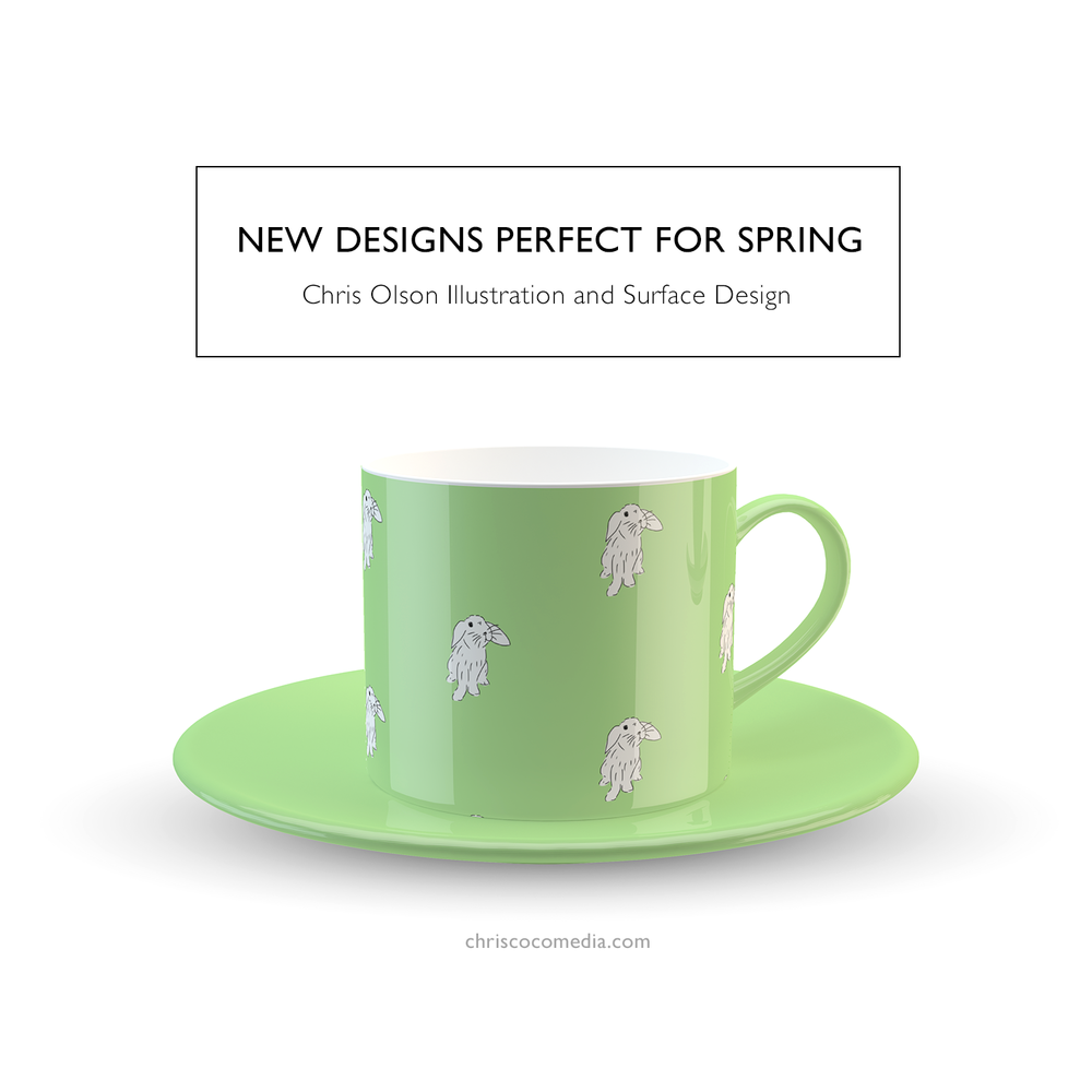 Cora the Bunny surface pattern by designer Chris Olson.