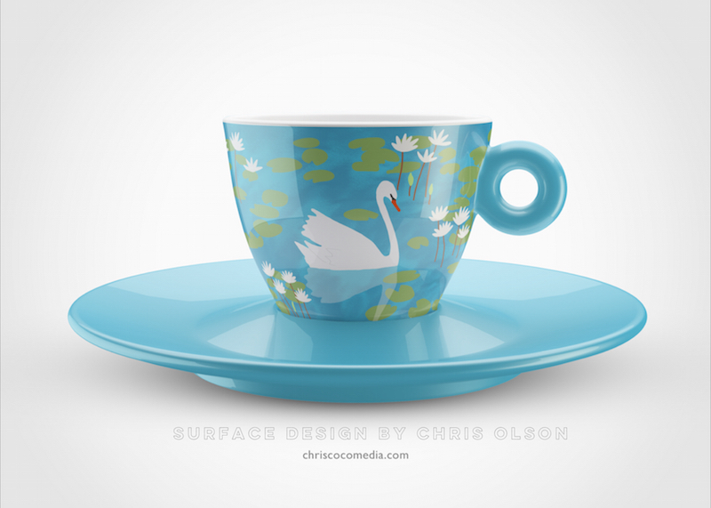 Swan lake illustration on a cup by Chris Olson.