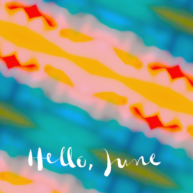 Hello June art with tropical print by Chris Olson
