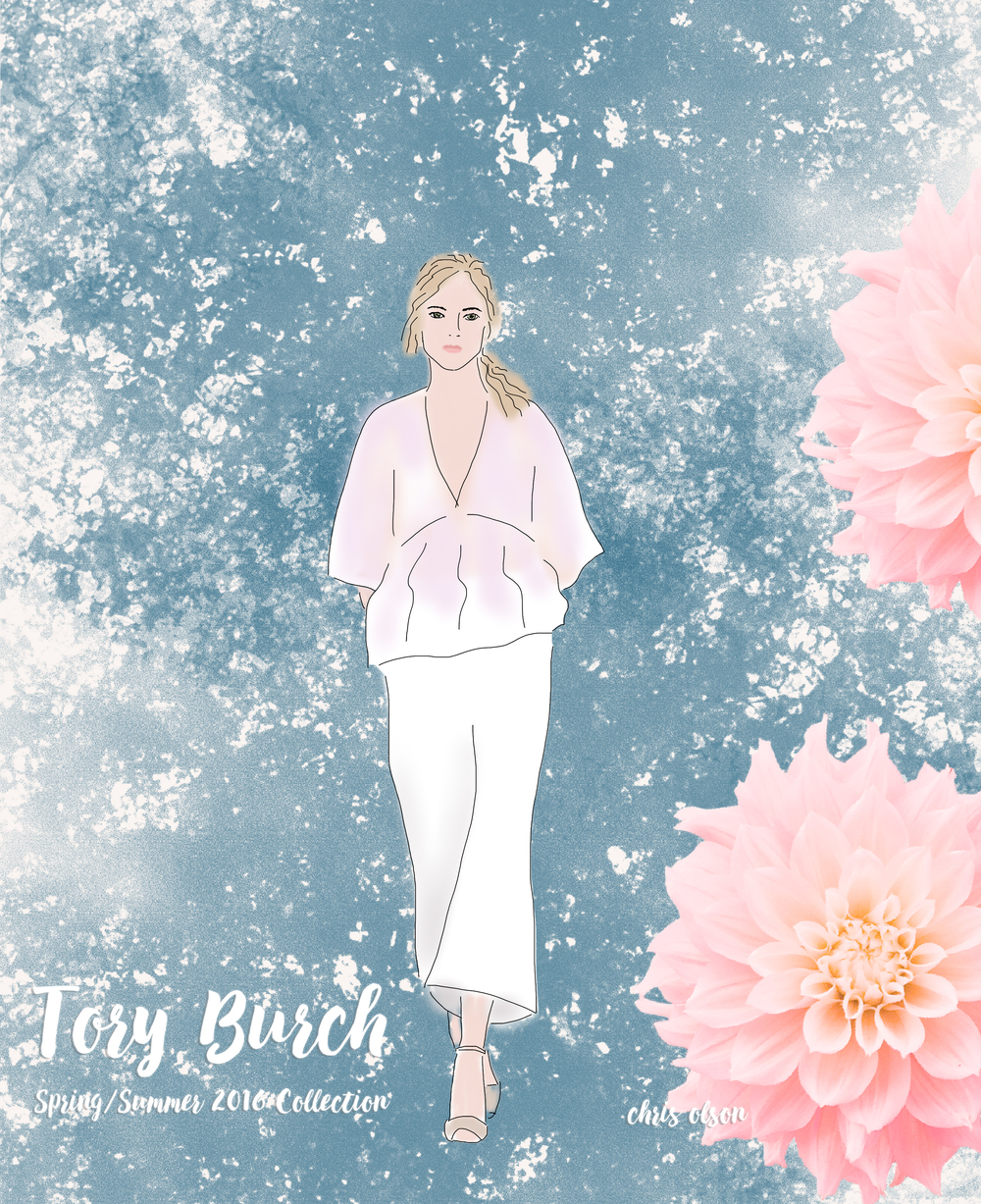 Iridescent fabrics on the Tory Burch SS16 show at NYFW. Art by Chris Olson