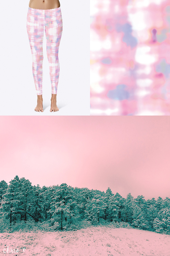 Make that PINK!  1 ) Pastel Opal textile pattern; 2) Pastel Opal leggings; 3) Pink Winter Wonderland. All designs by Chris Olson