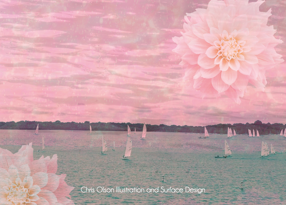 Pink Sailboats and Waves surface design by Chris Olson