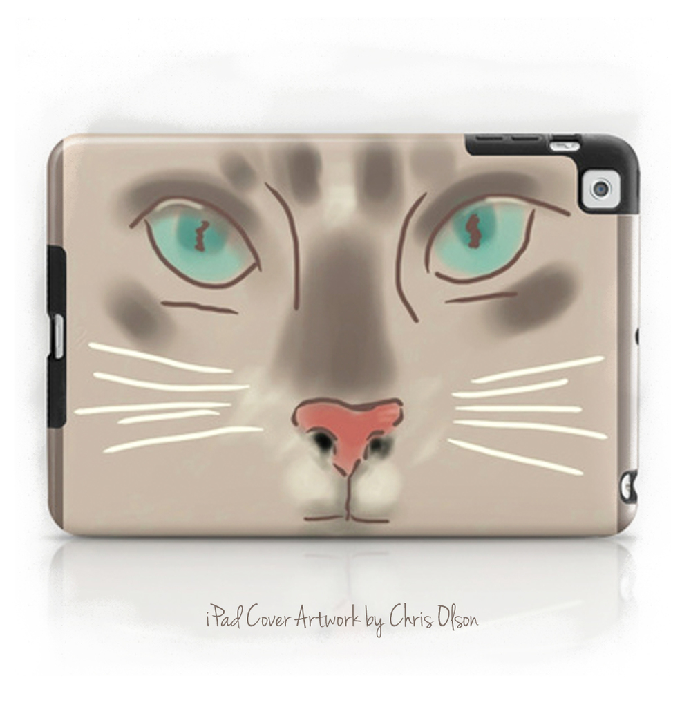 Cat Face on a iPad Case. Society6. Art by Chris Olson