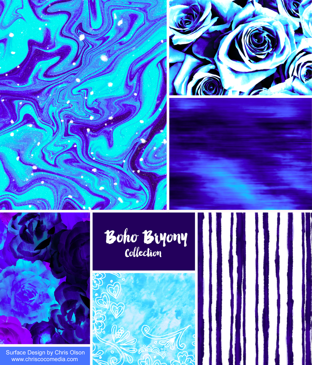 My inspiration for this collection: Ice and snow reflecting in the Colorado light. Indigo inks. Boho and batik patterns. Romantic florals. Silk tapestries. Trends: Photo real images. Hand painted. Woven.