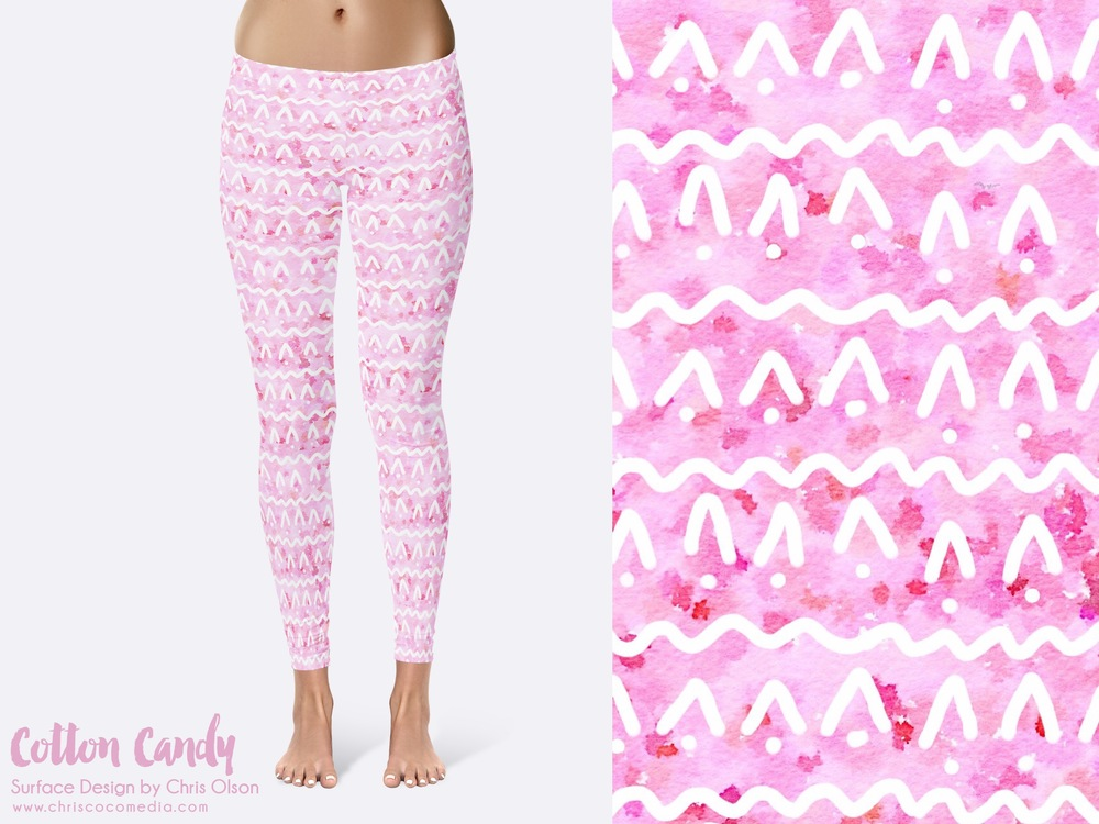 Cotton Candy textile pattern on leggings by designer Chris Olson // http://chriscocomedia.com