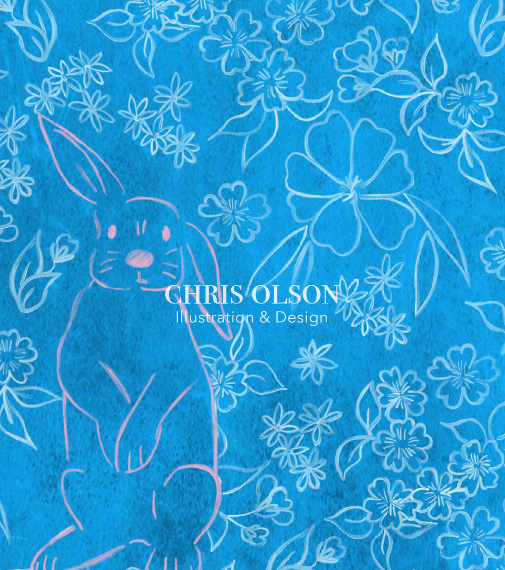 Pink Bunny in a Garden textile design by Chris Olson. Illustration. Rabbits.
