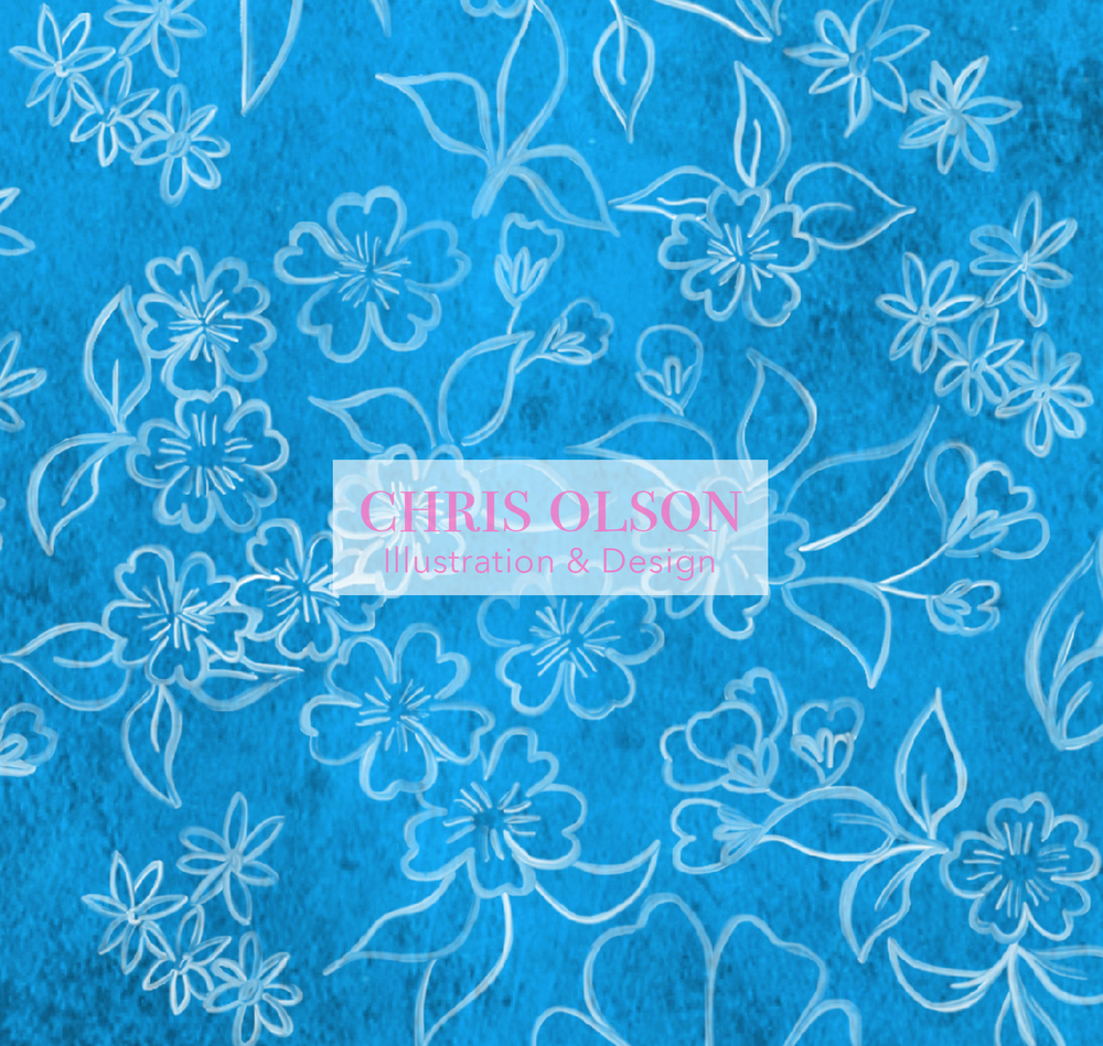 Garden Floral by Chris Olson. Hand painted floral pattern available as a textile.