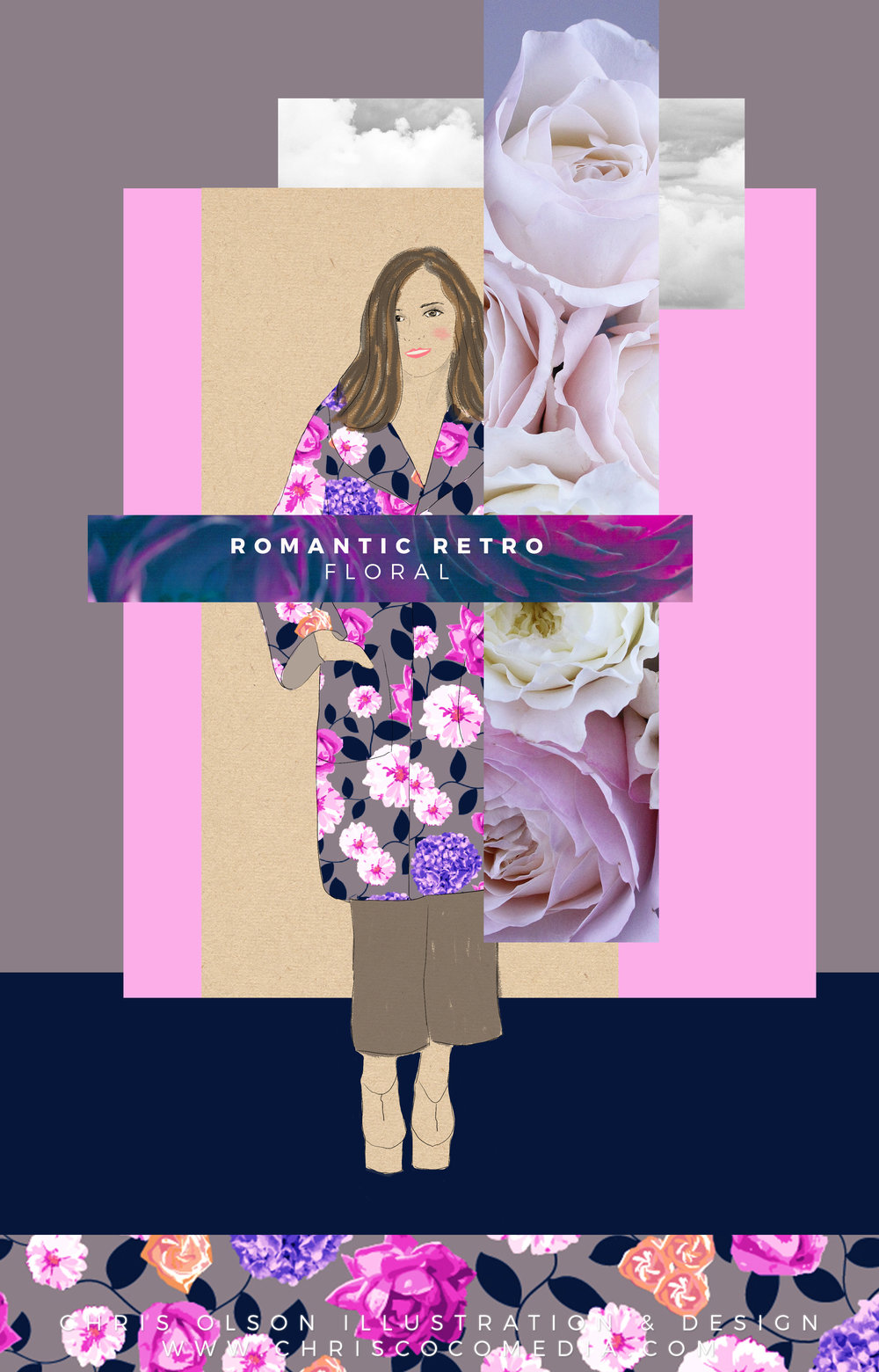 Here is some of my inspiration behind the new romantic floral textile. (Design by Chris Olson)