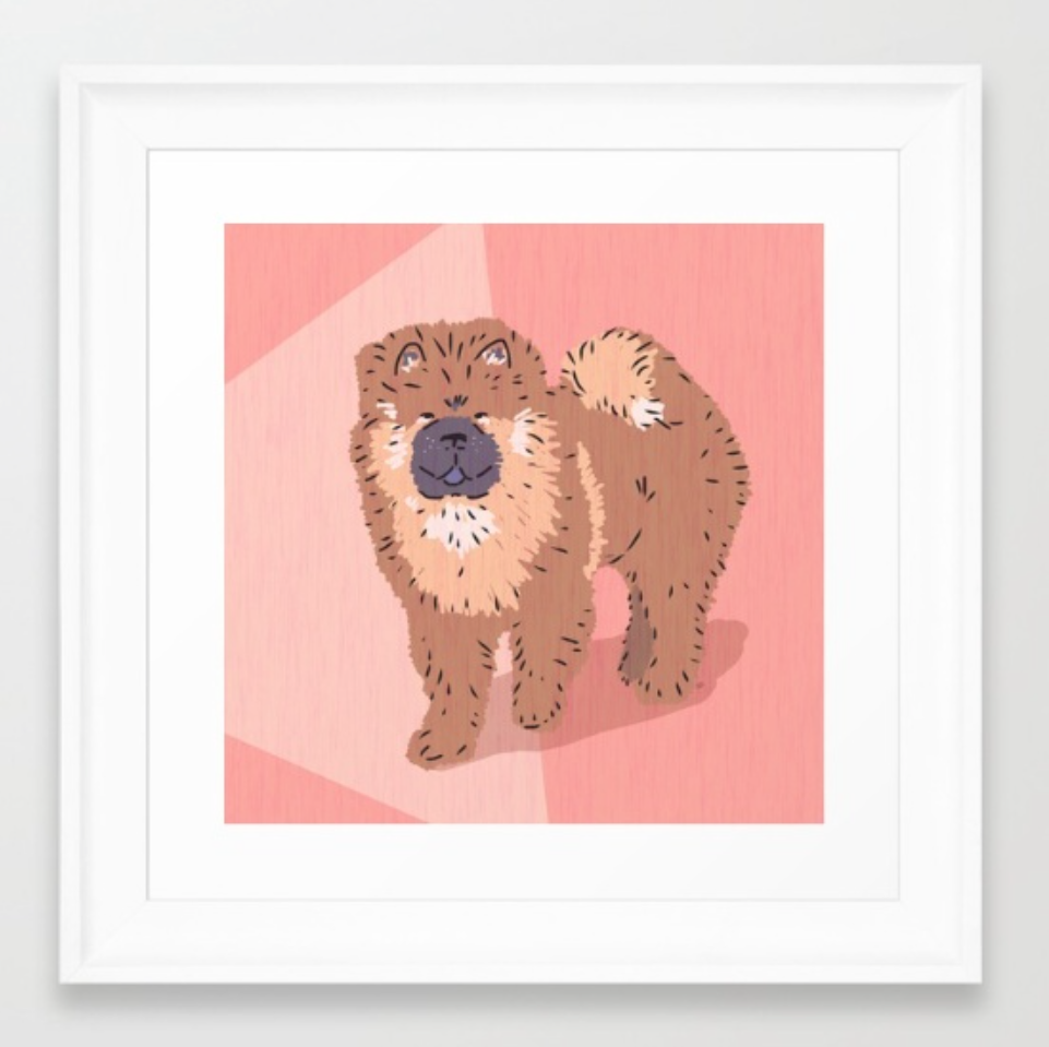 Chow Chow dog art in a framed print by Chris Olson