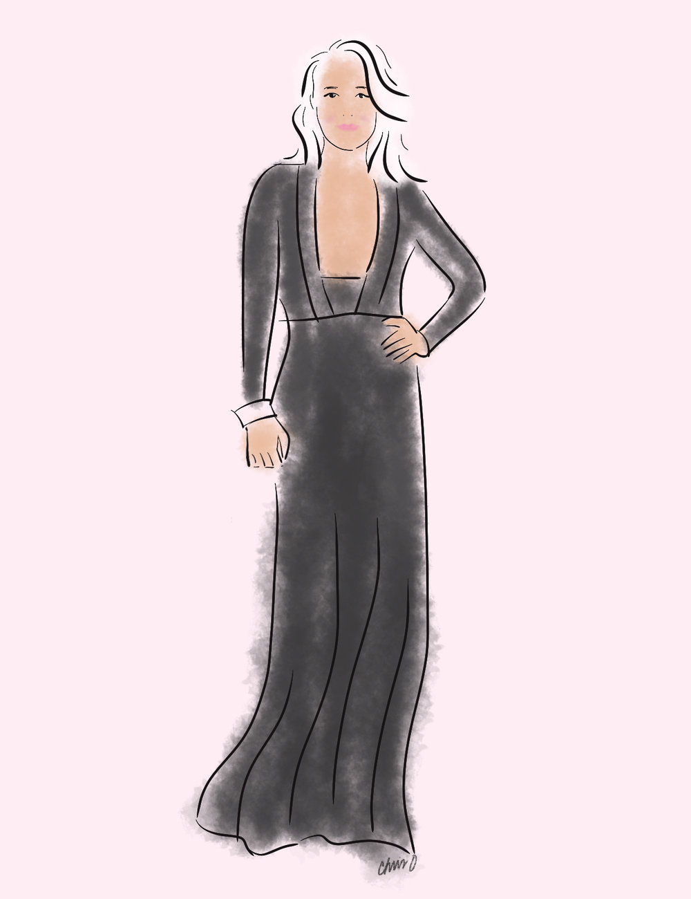 Kristen Bell fashion sketch at Golden Globes by Chris Olson.