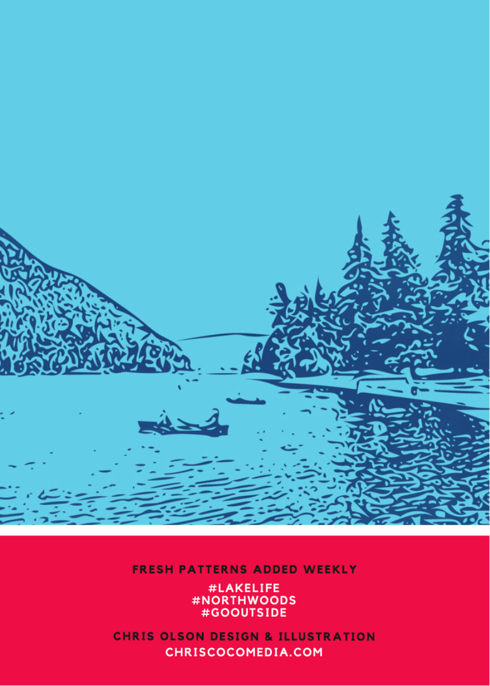 Canoe at the Lake print in the Lake Life collection by designer Chris Olson