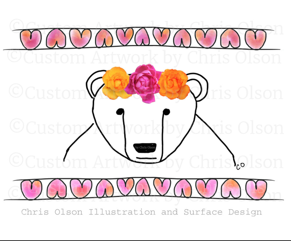 Polar bear and roses mixed media collage by illustrator Chris Olson