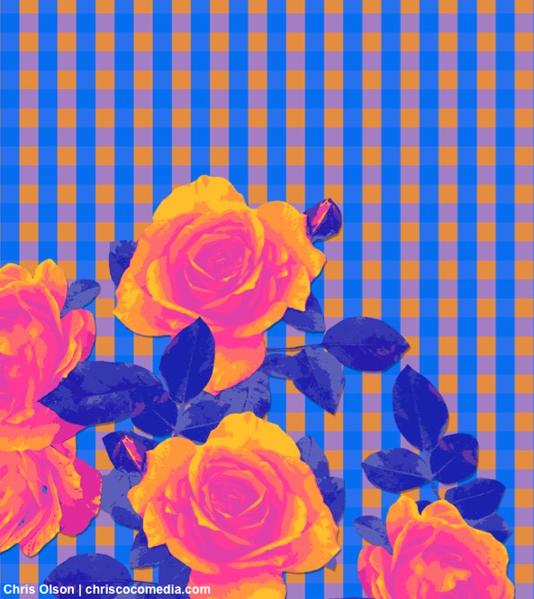 Roses and gingham check art by Chris Olson