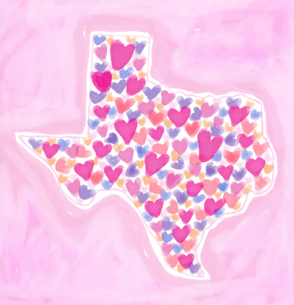 Texas State Heart Art by Chris Olson