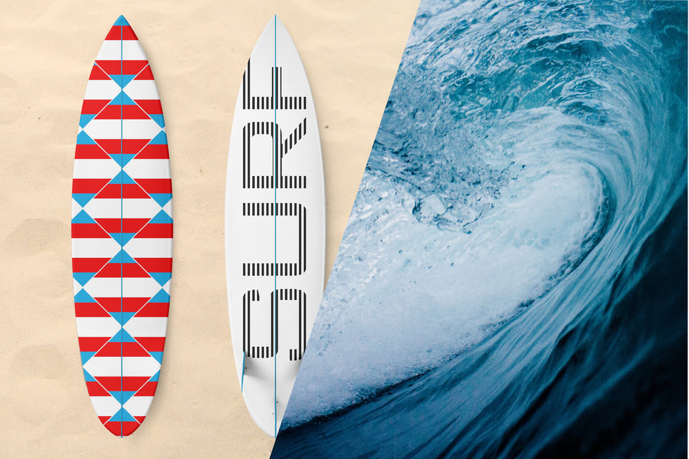 Zen Geo designs by Chris Olson. Surfboard art. Wave photo by  Tim Marshall  on  Unsplash