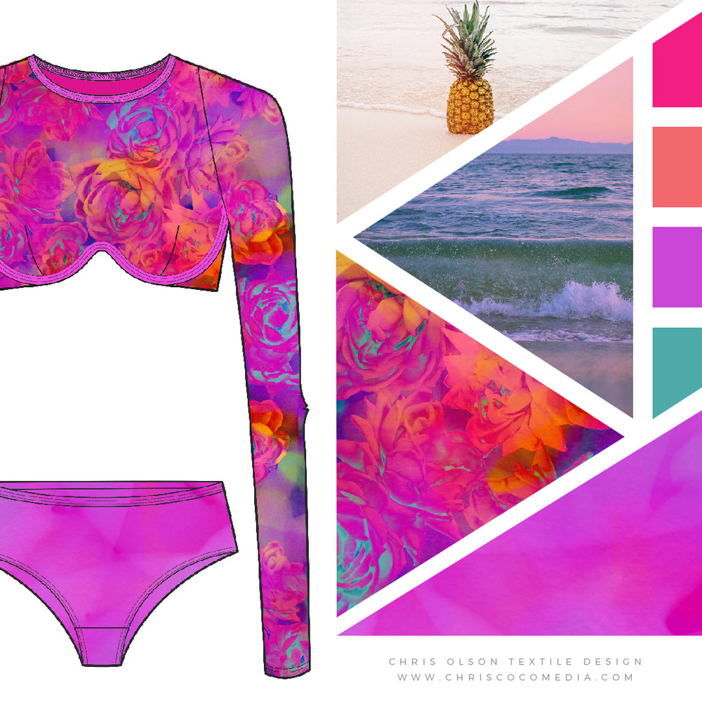 Lush Floral Fantasy for Swimwear and Activewear by Chris Olson