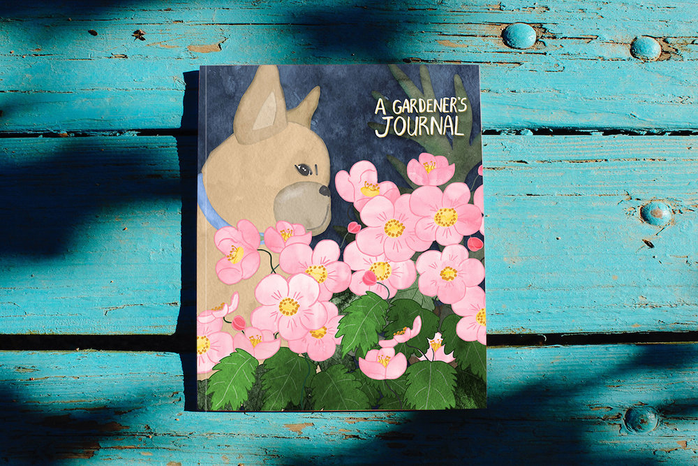French Bulldog in a Garden Journal by Chris Olson.jpg