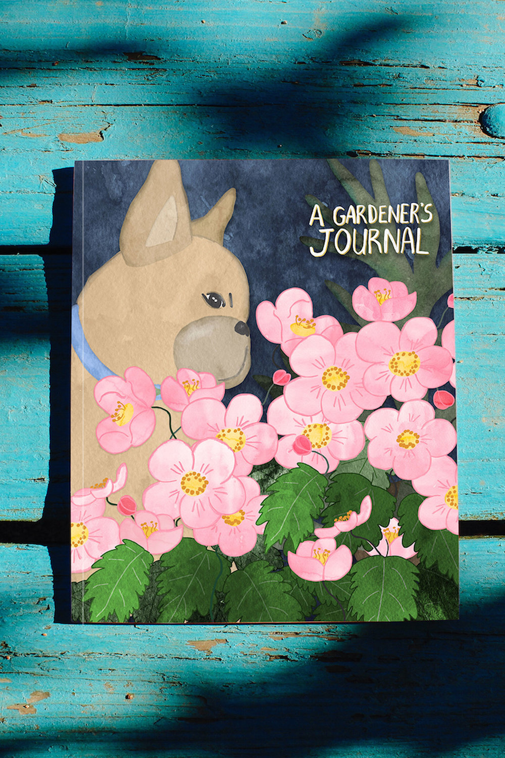 French Bulldog in a Flower Garden journal by Chris Olson.jpg
