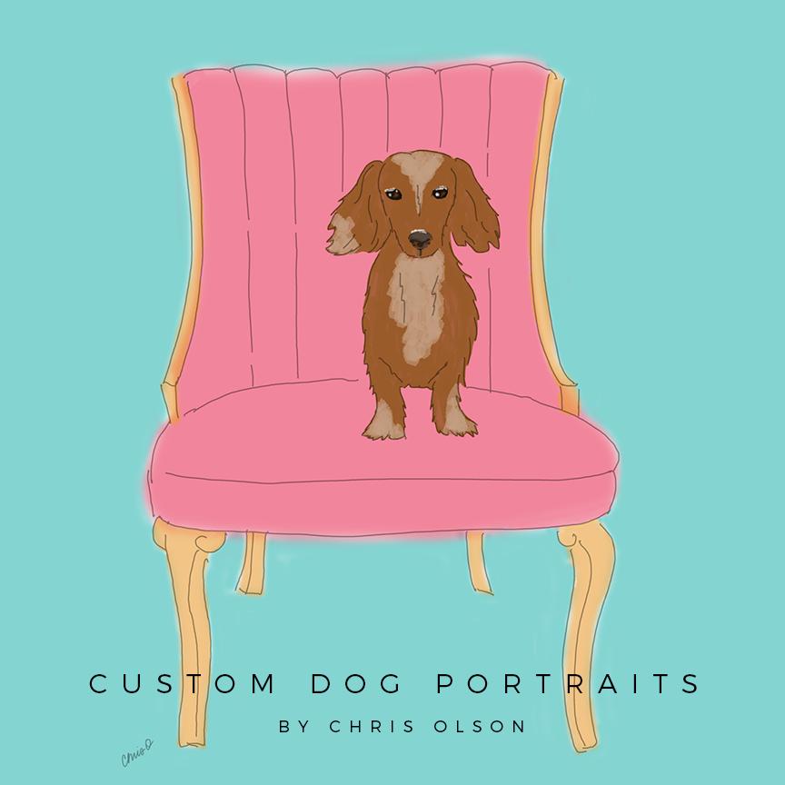 Custom dog portraits by Chris Olson