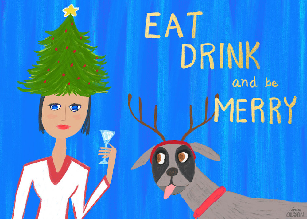 Holiday card by Chris Olson featuring a festive reindeer dog