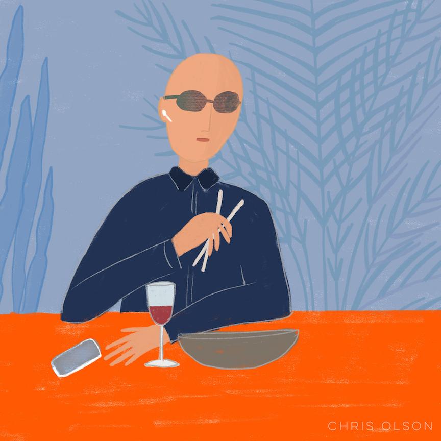 Man in restaurant art by Chris Olson