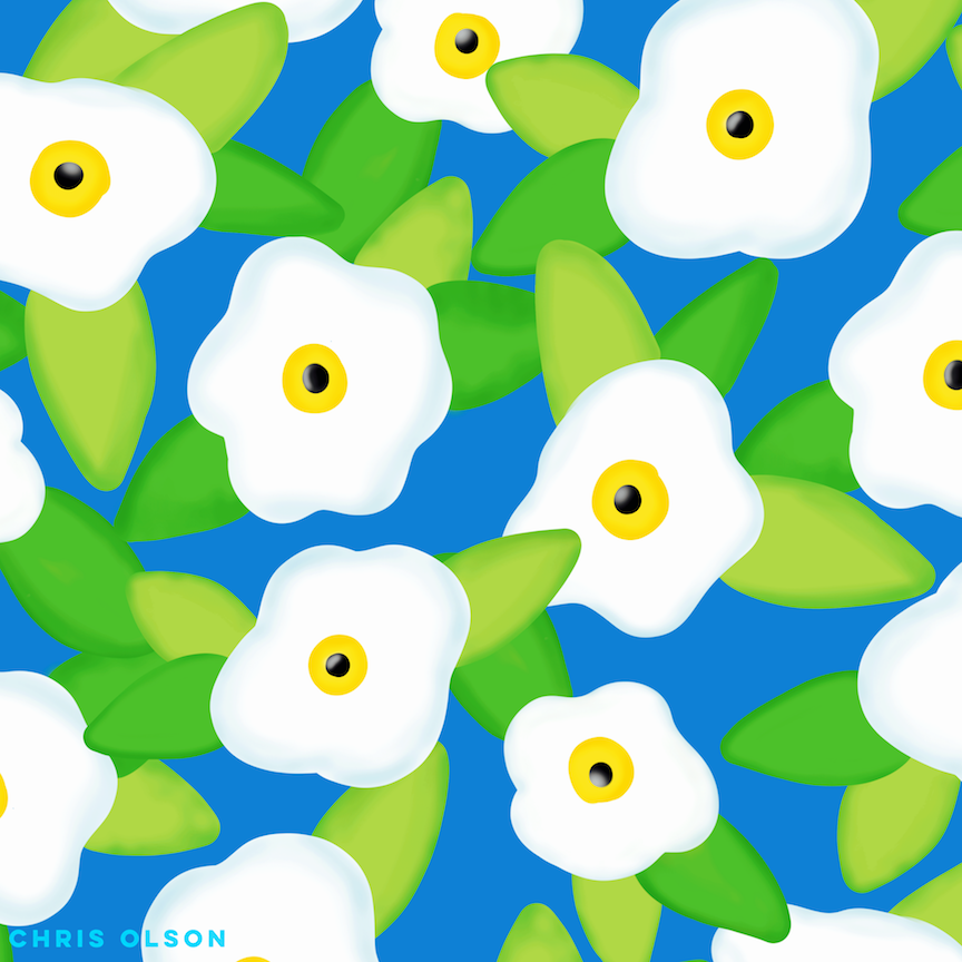 White flowers on blue pattern by Chris Olson