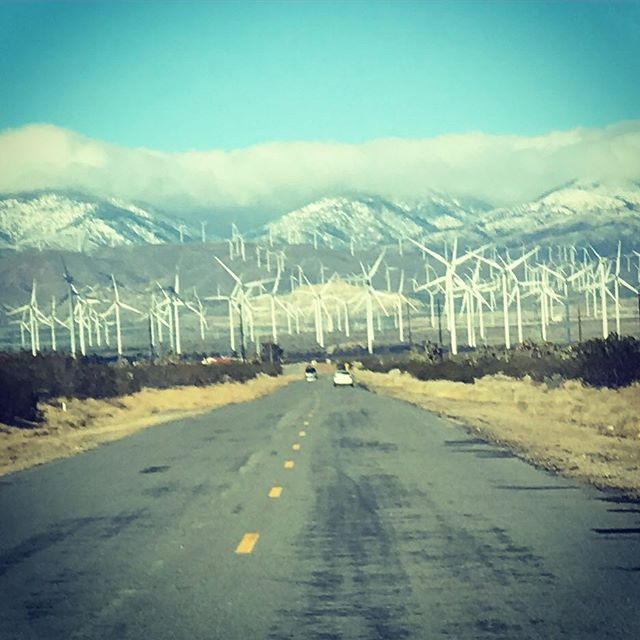 Just another day at the office. #windmillfarm #snowcapped #openroad