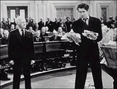 "From ""Mr. Smith Goes to Washington,"" James Stewart employs the ""talking filibuster"""