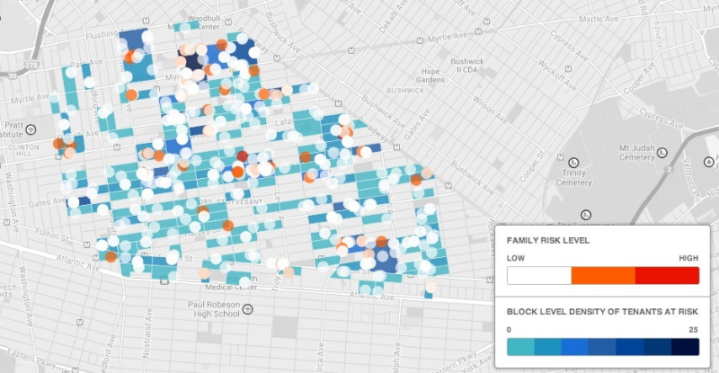 Map of Households At Risk of becoming Homeless based on SumAll Models (Pilot Area: Bedford Stuyvesant)