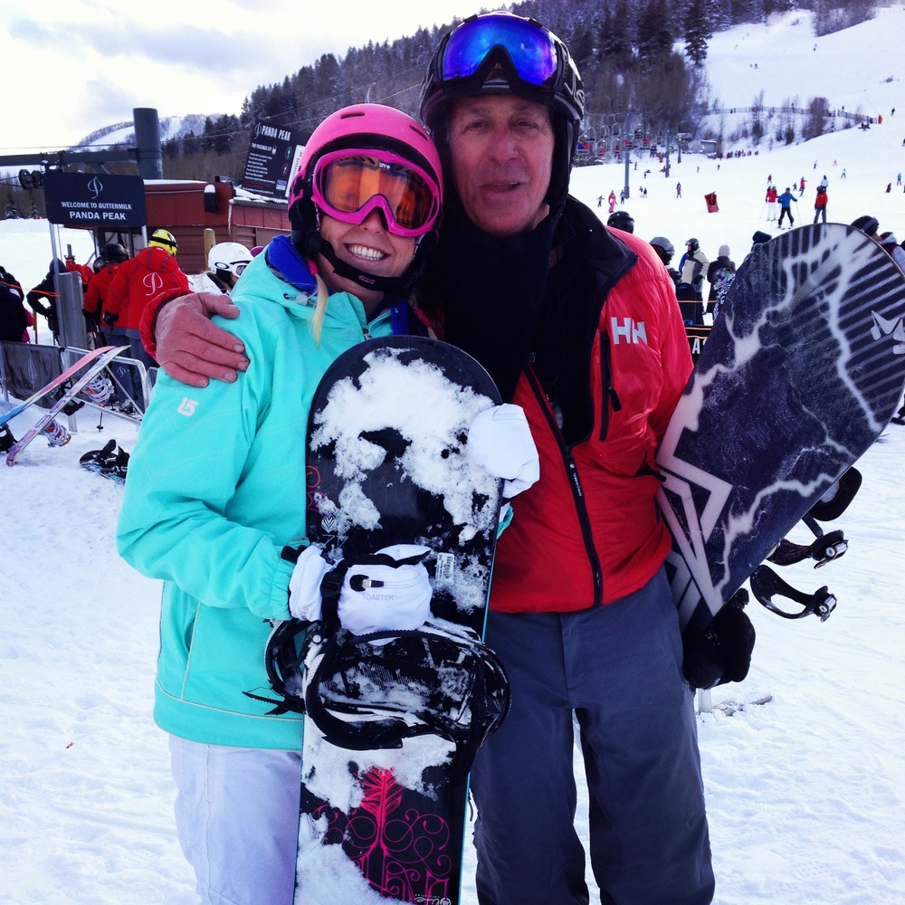 My 70 year old snowboarding instructor and I