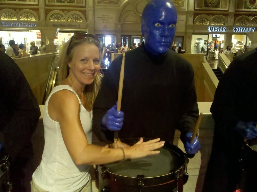 Auditioning for a spot in the Blue Man Group