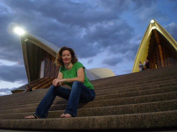 "Christy King on the front steps of the Sydney Opera House. ""Not Darth Vader's mining helmet,"" she clarifies."