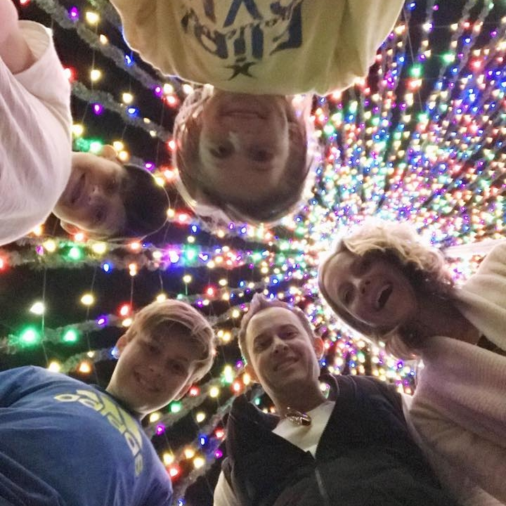 If we made a holiday disco album, it would maybe look something like this. We are actually standing inside the tree at Marion Square in Charleston.