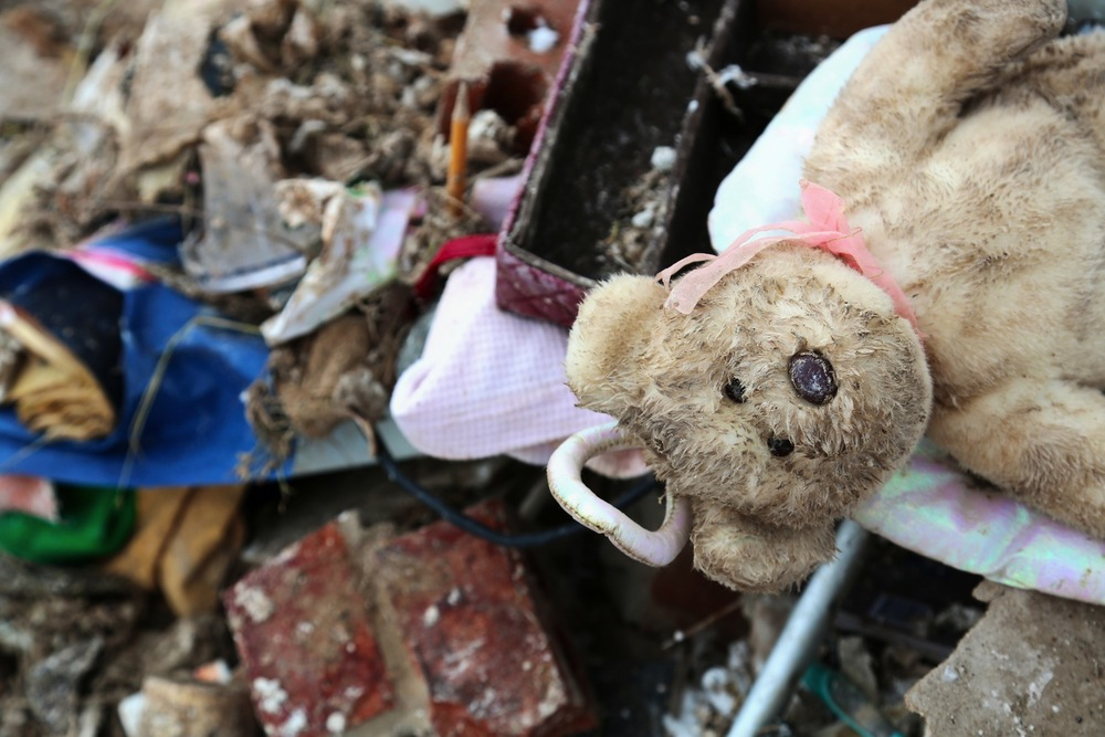 A teddy bear on a pile of rubble in   Oklahoma City  , in the heart of the path of the F5 twister.