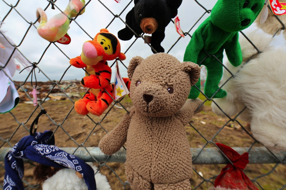 A stuffed-animal shrine at the  Plaza Towers Elementary School , where 7 children perished in the storm.