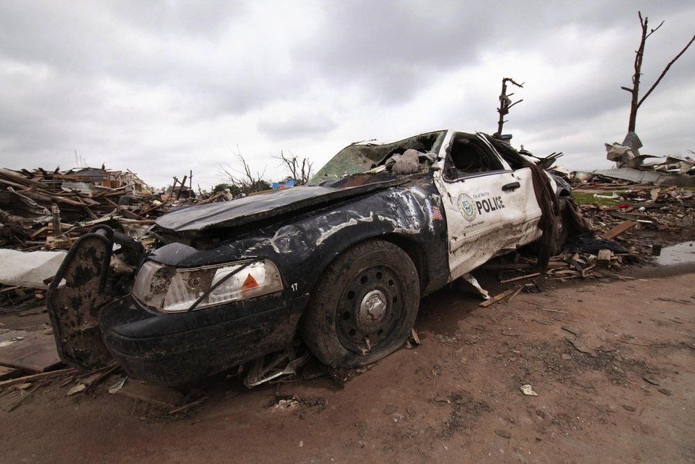A battered police car in Moore, Oklahoma.