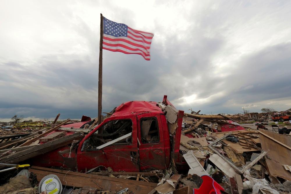 Amidst the debris in the Westmoore neighborhood in Oklahoma City.