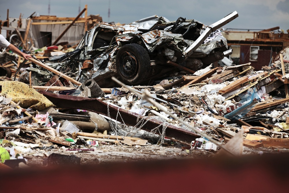 Mangled cars littered the landscape in the path of the F5 tornado in Oklahoma City.