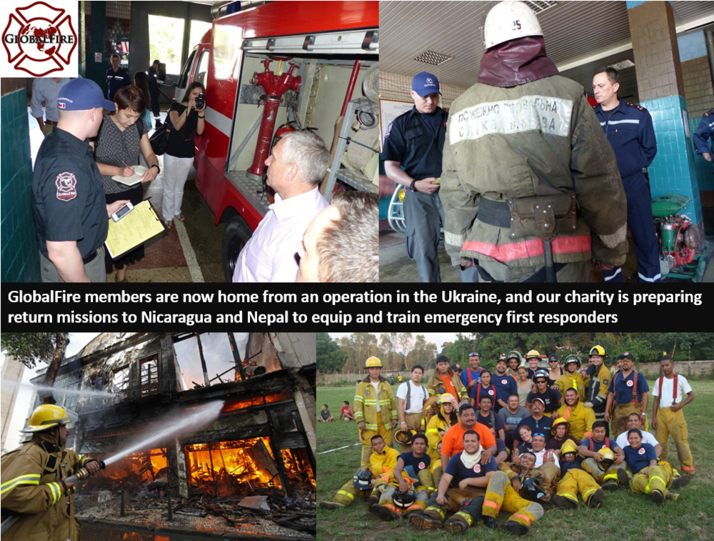 """With GlobalFire teammembers now back home from the Ukraine and Nepal,GlobalFire is preparing to deploy a Capacity Building Team to assist Firefighters and Paramedics in Nicaragua this November. We are also in the early stages ofpreparing an operation in Nepal that will be undertakenbefore the end of 2015. Although the Nicaragua team has been selected, any interested GlobalFire volunteer could ask to join the Nepalteam once the call-out email is sent. Not a GlobalFire volunteer but interested in helping? Register as a member (it's free) by clicking on the """"Join The Team"""" button. For updates on active GlobalFire operationsplease """"like"""" and """"share""""GlobalFire's Facebook page, and follow us on Instagram: globalfiredmgfand on Twitter: @GlobalFireDMGF"""