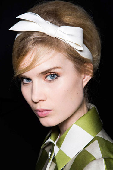 Revived Beehive with darling headband accessory. NYFW Spring 2013-Louis Vuitton