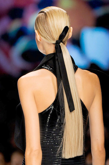 Sleek Blonde ponytail with classic-tied bow. NYFW Spring 2013-Etro