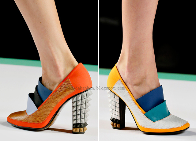 Fendi textured shoe with a geometric twist...