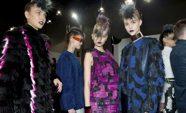 Fendi fall 2013 is all about the colored fur and colored furry Mohawks...love
