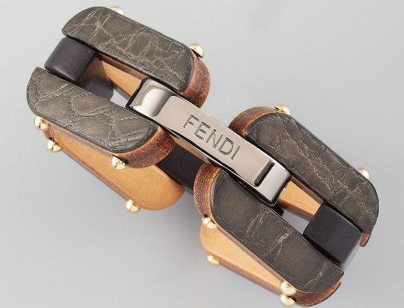 Wonderful aged leather Fendi Bracelet.