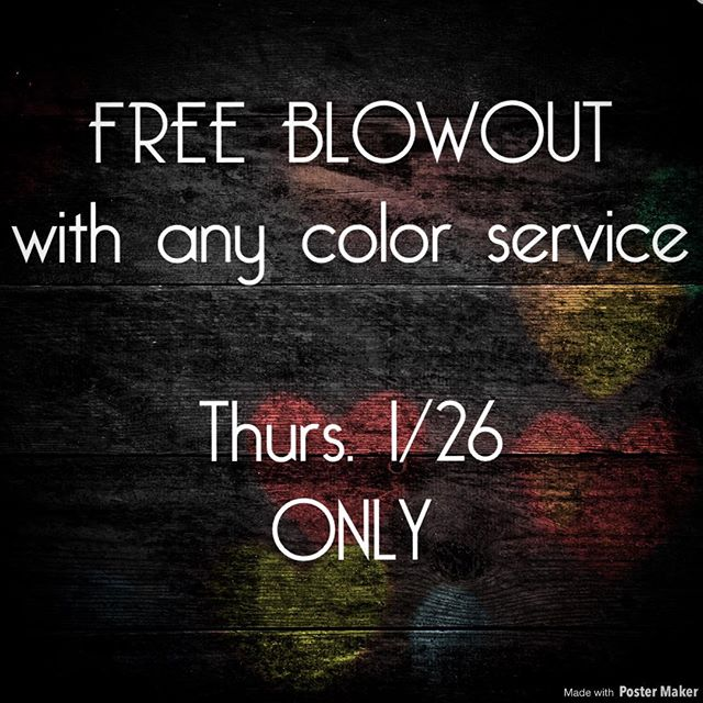 Amazing opportunity with @shannotstan. #colorservice w/ complementary #blowout.  Tomorrow only. Please call or visit our website for pricing • • #taylorandyork  #seeninshaw  #dcsalon  #colorist  #healthyhair